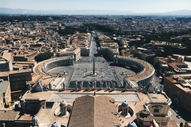overhead view of St Peter's Square, Rome