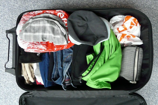 a packed carry-on bag