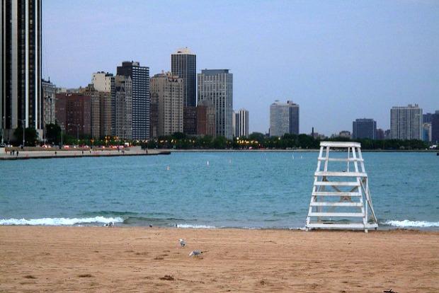 Beach near airport in Chicago