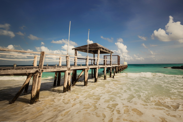 beach and pier in Cancun
